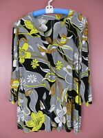 STK2368- CHICO'S TRAVELERS Womens Slinky Knit Blouse 3/4 Sleeve Floral 3 L XL