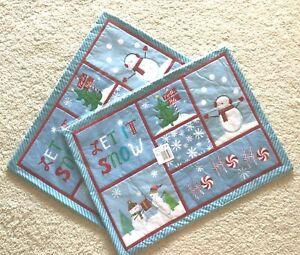 """LOT OF 2 St. Nicholas Square """"Let It Snow"""" Snowman Placemats Lt Blue $7.99 x 2"""