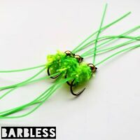 Barbless Chartreuse Hulk Worms Size 10 (Set of 3) Fly Fishing flies Bung