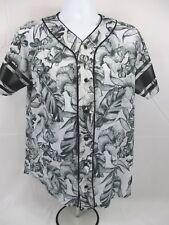 ON THE BYAS Black & White Floral Mesh Baseball Button-Up Jersey - Medium - EUC