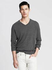 NWT Banana Republic Men's Silk_Linen Vee Pullover Color Vintage Gray Size L