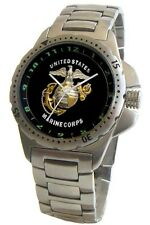 U.S. Marines Emblem Stainless Steel Sport Watch Has Elapsed Time Turning Bezel