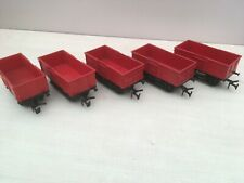 "0 gauge TRIANG ""Big Big"" red open mineral wagons x 5. LIMA compatible"