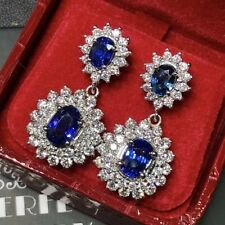 CEYLON 8.40TCW ROYAL Blue Sapphire diamonds 18K white gold earrings chandelier