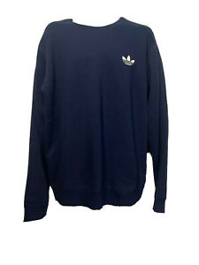 adidas Mens Size L blue trefoil crew neck pullover sweatshirt