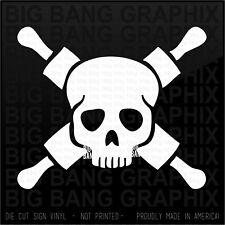 Rolling Pin Skull Baker Vinyl Decal Sticker DieCut Window Truck Car Bumper Funny