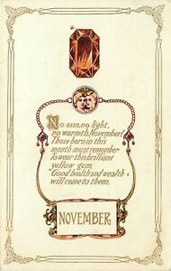 Vintage Postcard November Birthday Poem Birthstone Topaz & Jewelry Chain posted