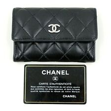 Authentic Chanel Black Lambskin Cardholder Purse Wallet + Authenticity Card