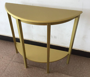 Modern Hallway Display Wooden Half Moon Table In White Or Gold With Lower Shelf