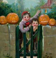 Vintage Halloween Postcard Tucks Embossed Children By Fence Series 174 Unused