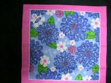 USA Lilly Pulitzer Cotton Ford Scarf Ford Pink Blue Mums NWOT Brst Cancer Awaren
