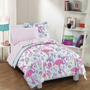 Blue Floral Paisley Pink Flamingos 7 pc Comforter Sheet Set Twin Full Bed Bag