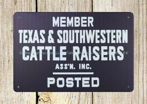 ranch decor vintage reproduction farm tin sign Texas Southwestern Cattle Raisers