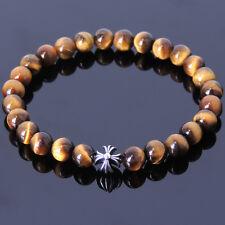 Tiger's Eye Sterling Silver Cross Bead Men's Solar Plexus Chakra Stones Bracelet