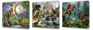 Dinosaurs Jurassic canvas wall art plaque pictures set of three