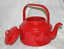 Red Enamel Tea Kettle 10 Cup
