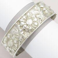 Vtg French Art Deco 800 Silver Raised DAISY Flower Signed Bangle Bracelet