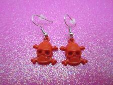Red Skull Cross Bone Earrings