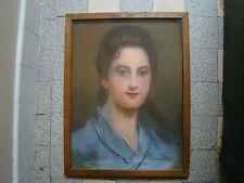 Pastel d'un portrait de jolie femme  ,en l'état , 44 x 32,5 cm
