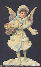 SNOW ANGEL CHRISTMAS ORNAMENT GERMANY EMBOSSED SINGLE PAPER  SUPPLIES ORNAMENT