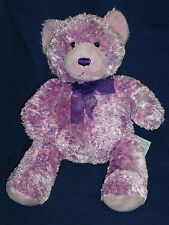 "15.5"" beanbag plush Build-A-Bear Lavender & Pink Speckled Bear w/Purple Bow"