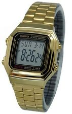 Casio A178WGA-1A Men's Gold Tone LED Light Afterglow Alarm Chronograph Watch