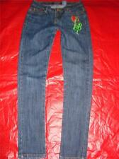 Paco Green Red Snake Serpent Flame Low Waist Skinny Stretch JEANS 3 Jrs Ladies