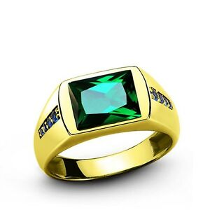 Mens Green EMERALD Ring in REAL 14k Yellow Fine Solid Gold All Sizes Available