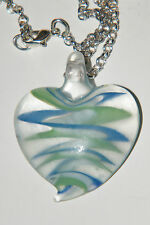 "HEART Necklace Lampwork BLUE GREEN WHITE 3-D Glass Love Heart 22.5"" Chain NEW!"