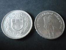 MONETA DA 5 FRANCHI SVIZZERI DEL 1967  IN OTTIMO STATO, OCCASIONE   - R