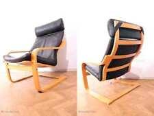 Designer Freischwinger Sessel Ledersessel Kaminsessel Buchenholz