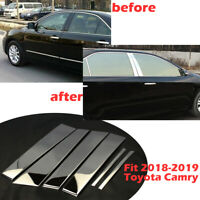 For 2018-2019 Toyota Camry 6Pc Chrome Pillar Post Stainless Steel Trim