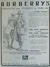 PUBLICITE BURBERRYS VETEMENTS COSTUME DE CHASSE FUSIL CHASSEUR DE 1927 AD PUB