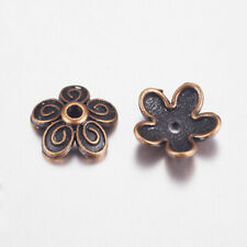 50 pcs Red Copper Flower Nickel Free Tibetan Style Bead Caps 10x3.5mm Hole 1.5mm