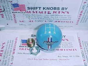1996 - 2010 Mustang  5 Speed shift knob W/Tri Bar Logo  FORD LICENSED (Lt Blue)