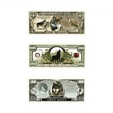 Set of 3 diff. wolf fantasy paper money