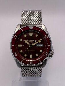 Seiko 5 Sports Men's Auto Red Dial Steel Mesh Bracelet Watch SRPD69K1