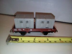 Wagon Jouef Ho porte container 104558 avec 2 containers 722436