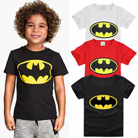 Children Clothes Boys Tops Short Sleeve T-shirt Cartoon Batman Cotton Tops 2-7Y