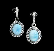Oval Larimar Earrings with White Sapphire accents .925 Sterling Silver