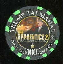 $100 TRUMP Taj Mahal Apprentice 2 Atlantic City Casino Chip Donald Trump Pres 45