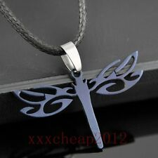 Black Stainless Steel Dragonfly Hollow Pendants Necklace
