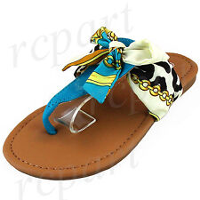 New girl's kids t strap slip on ribbon sandals color summer casual blue