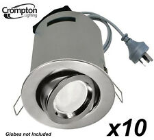 10x Satin Chrome Gimbal Downlight Fittings with Heat Hood, Cord & Plug 240V GU10