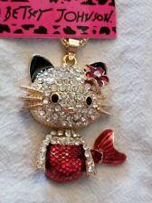 Lovely Betsey Johnson Blue /& Rhinestone Kitty Cat Mermaid Necklace-BJ50901