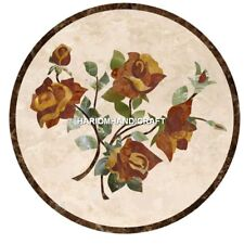 24'' Marble Center Coffee Table Top Roses Flower Home Decor New Year Gift H4937