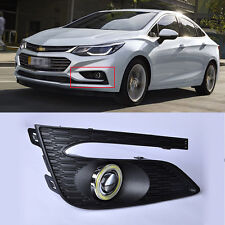 DRL COB Angel Eyes Fog lights Projector Lamp Bumper Cover For Chevrolet Cruze 17