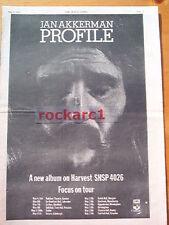 Jan Akkerman (FOCUS) Profile Tour 1973  UK Poster size Press ADVERT 16x12 inches