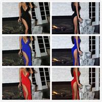 Women Sexy Split Long Dress Backless Strap Dress Deep V Party Evening Skirts New