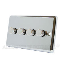 Polished Mirror Chrome Classical Dimmer 400W 4 Gang - CPC4GDIM40
